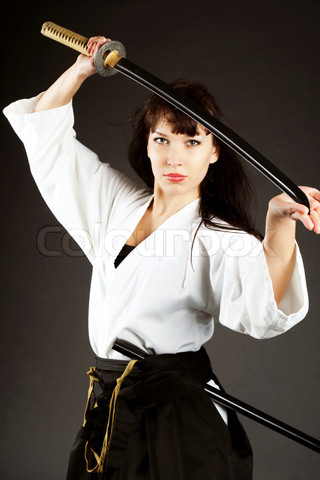 Hairy woman poses combat men