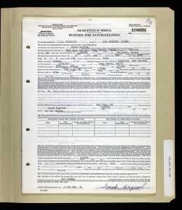 "Naturalization application for my Uncle Isaak ""Ike"" Hagouel."